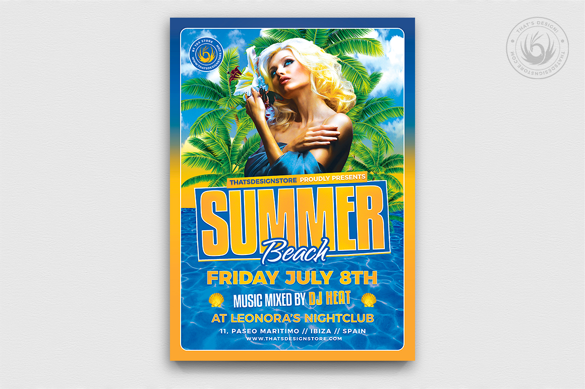 beach flyer templates design for photoshop to download