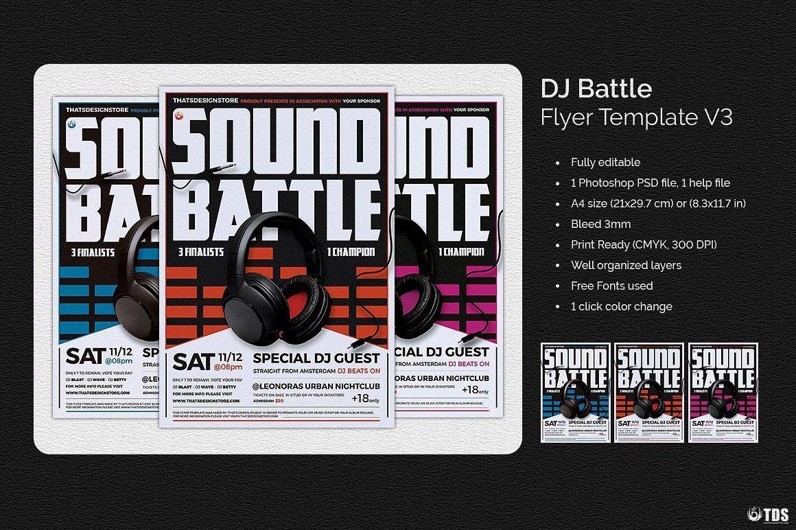 Dj Battle Flyer Psd Template V3 customizable with photoshop