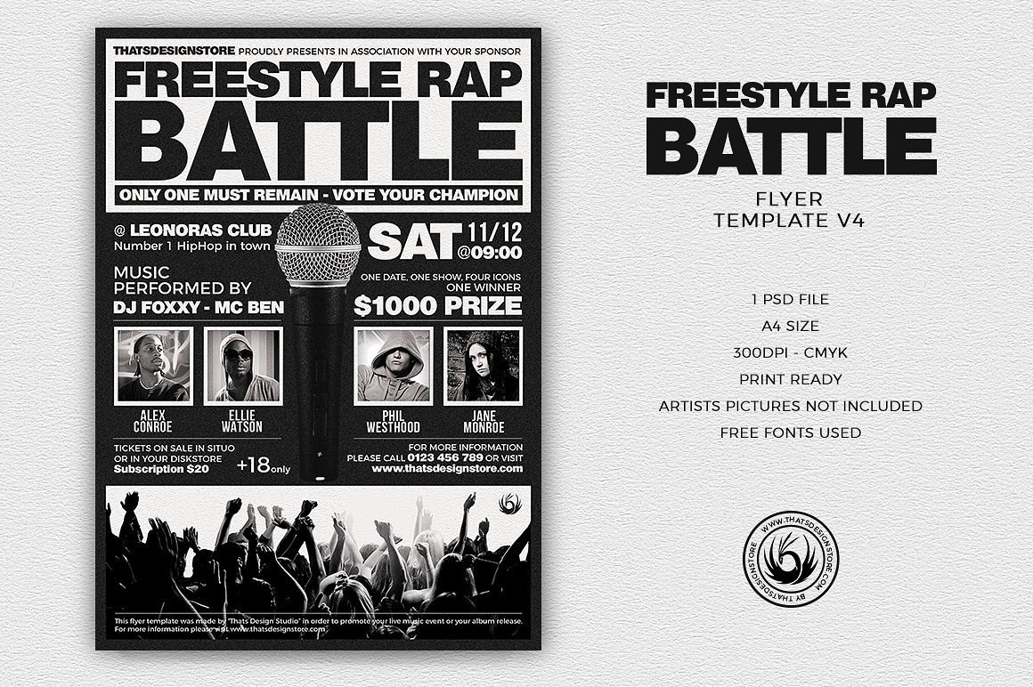 freestyle rap flyer templates design for photoshop v4