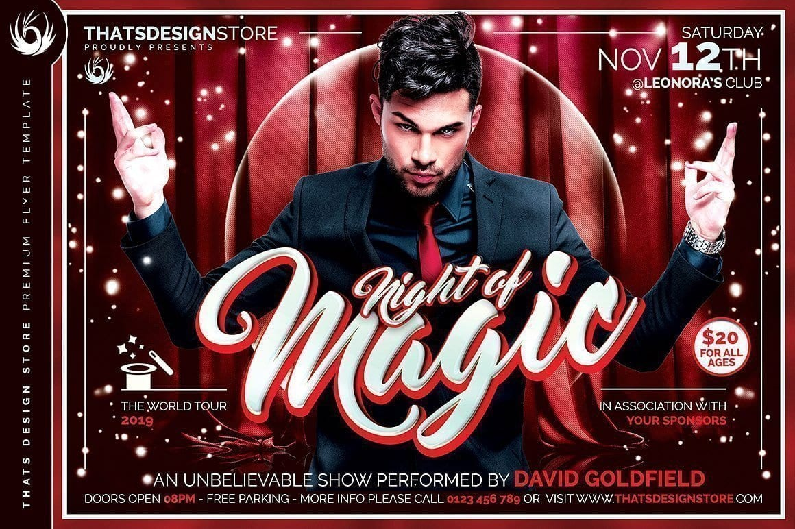 Magic performer flyer template psd design for photoshop magic performer flyer template maxwellsz