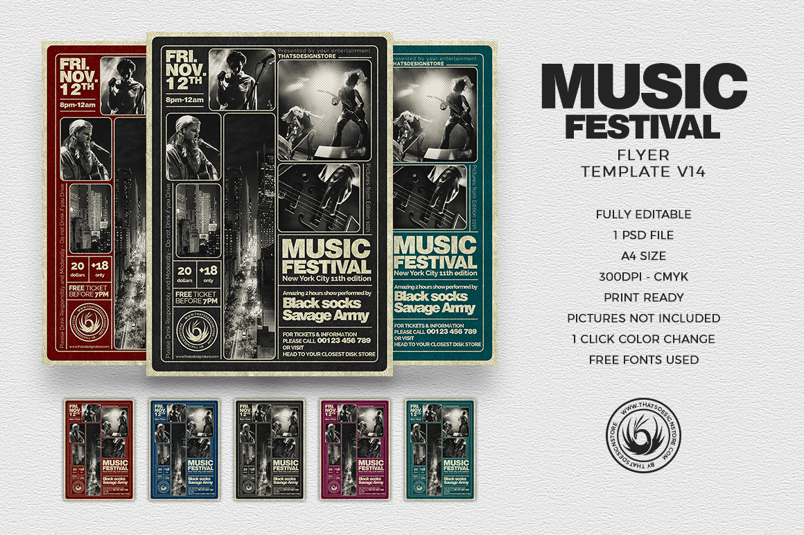 music festival psd flyer template to customize printable