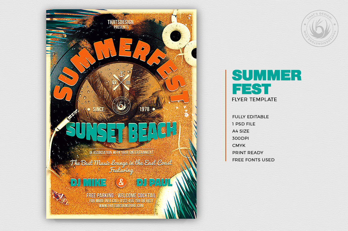 Summer Fest Flyer Poster Template Thats Design Store