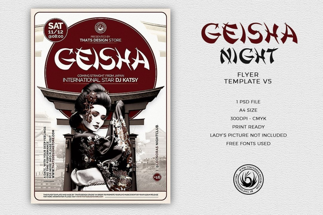 Geisha Party Flyer Template V5, Japan Psd flyers