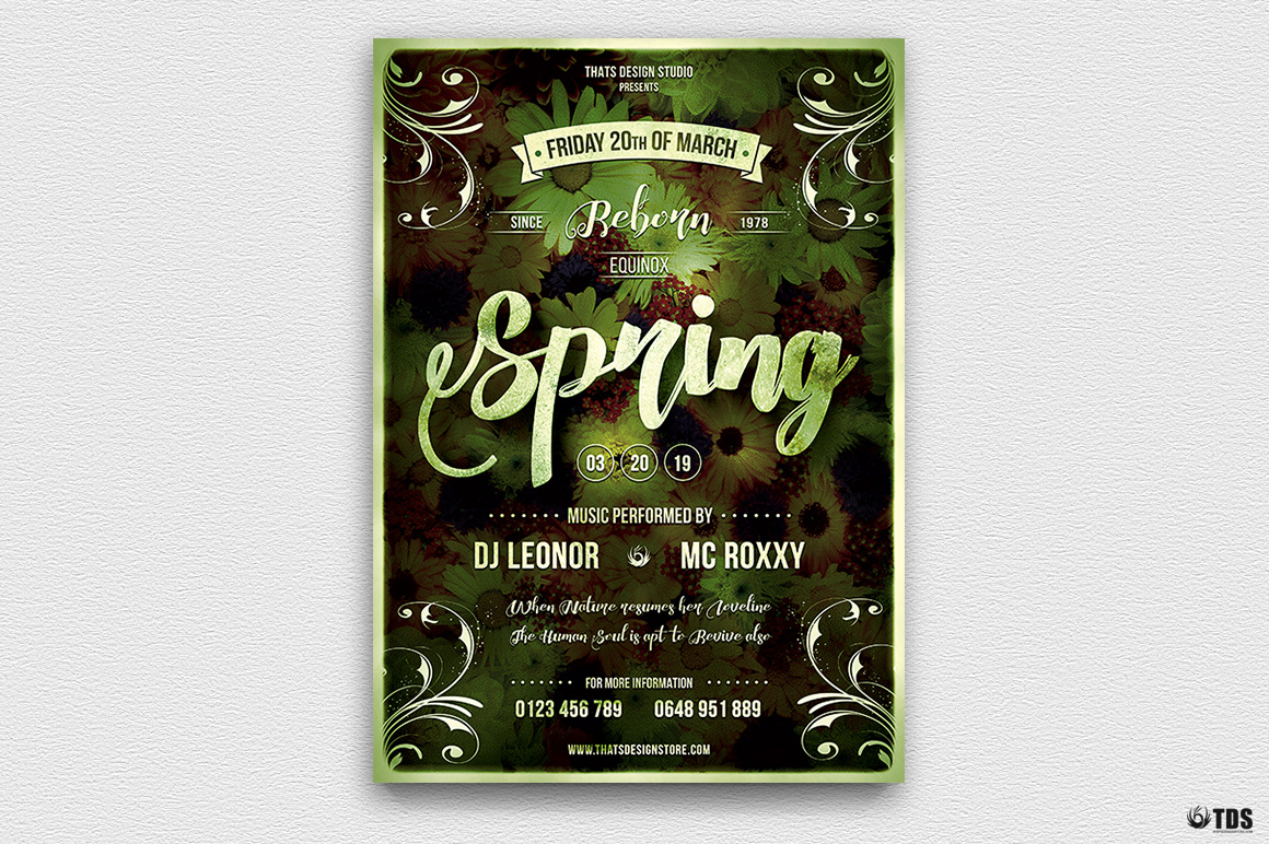 Spring Party Flyer Psd Templates, Spring Equinox Flyer Template