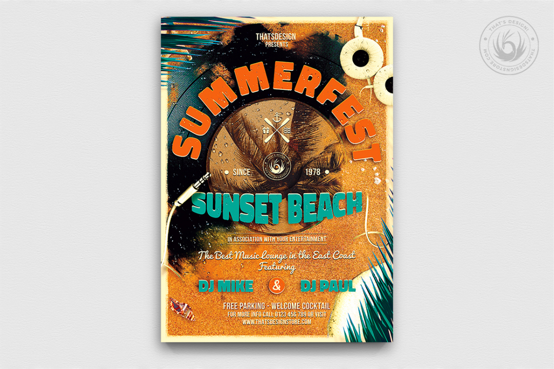 Summer Fest Flyer Poster Template psd for beach party, club or bar event. Pool garden party with Dj set mixing chillout, lounge music for sunset