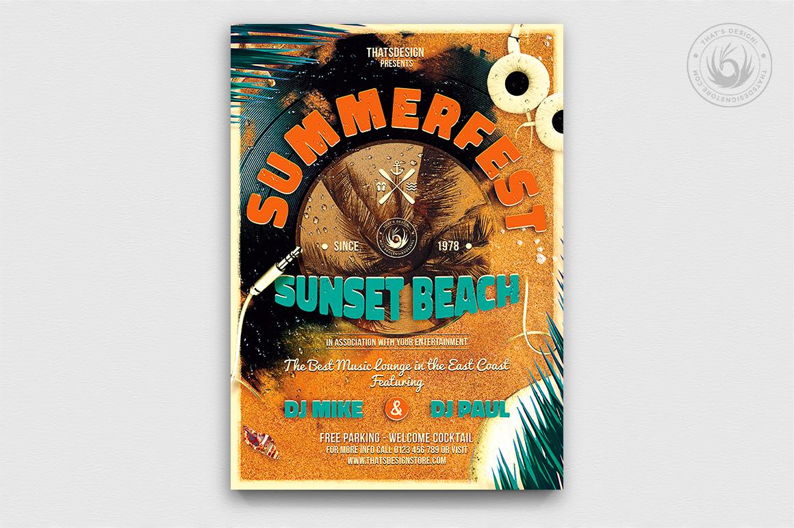 Summer Fest Flyer Poster Template, Beach Party flyer psd templates