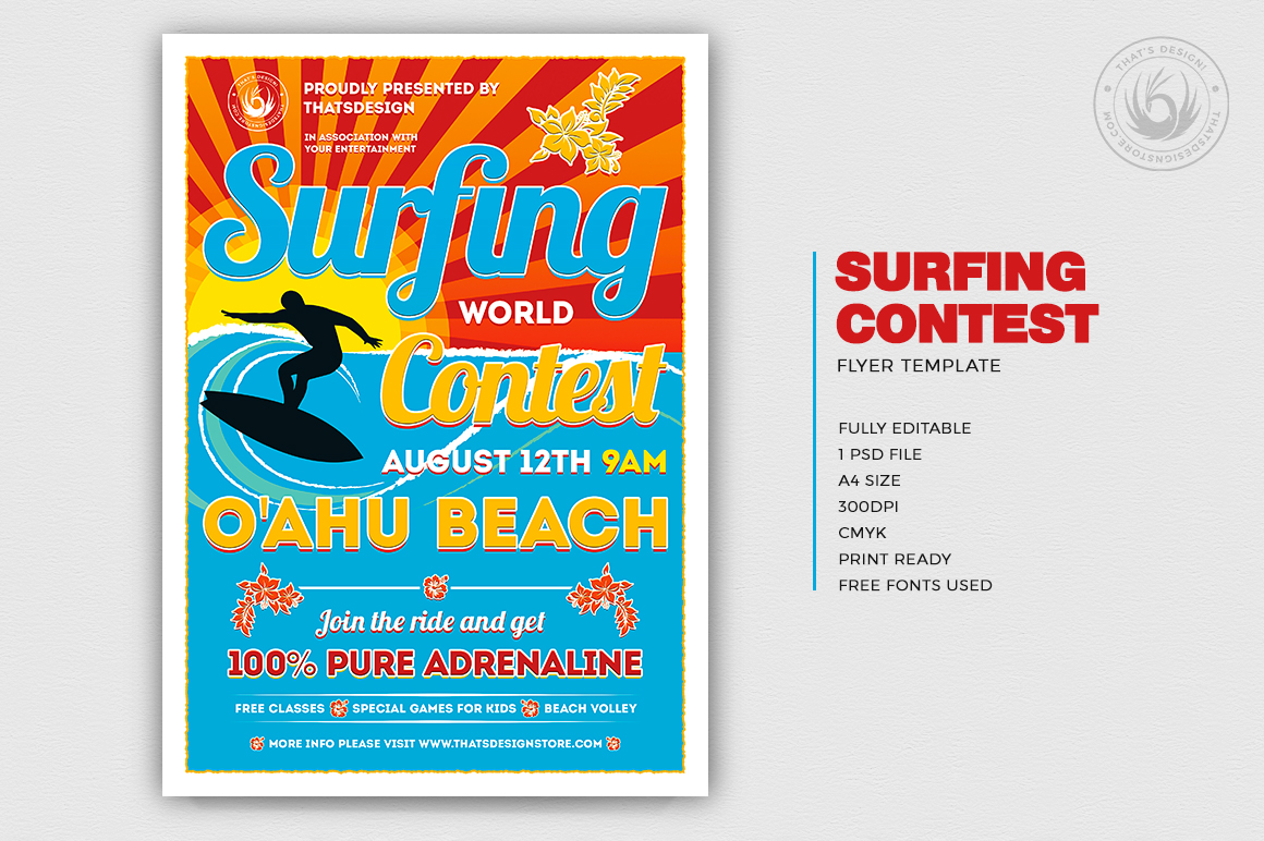 Surfing Contest Flyer Template PSD