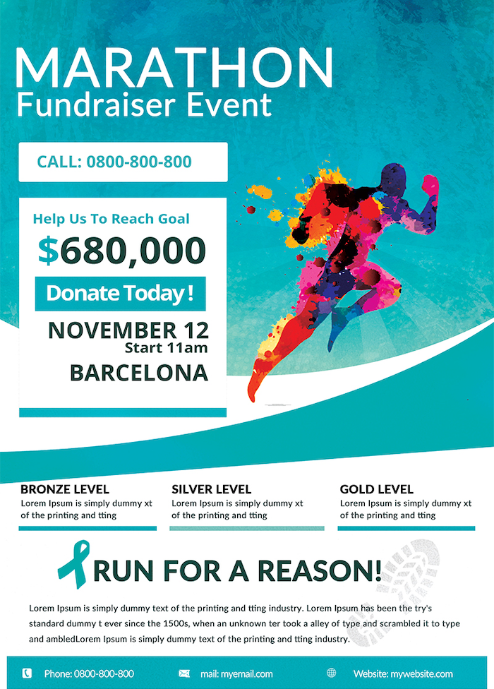 Freebies, Marathon Fundraiser flyer free download Psd Template, breast cancer benefit charity event