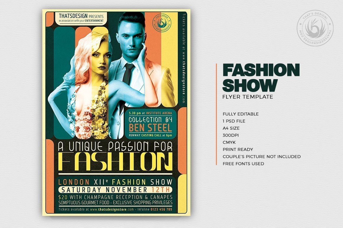 Fashion Show Flyer Template PSD download