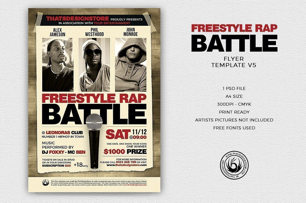 freestyle rap battle flyer template psd design for photoshop v5