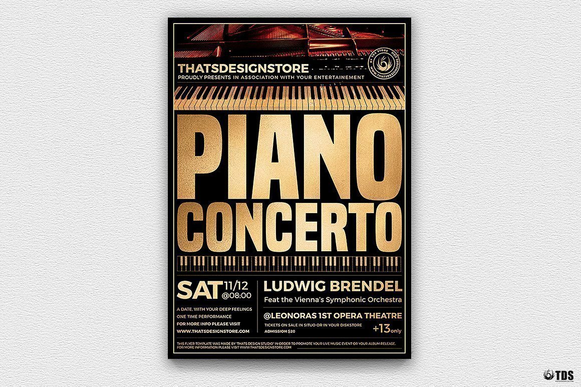 Piano Concerto Flyer Template Psd download V2