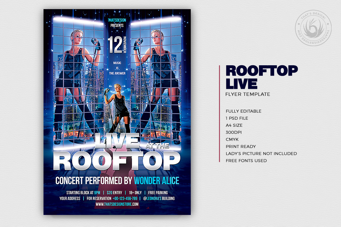 Rooftop live flyer template