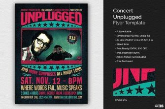 Concert Unplugged Flyer Template Psd to download