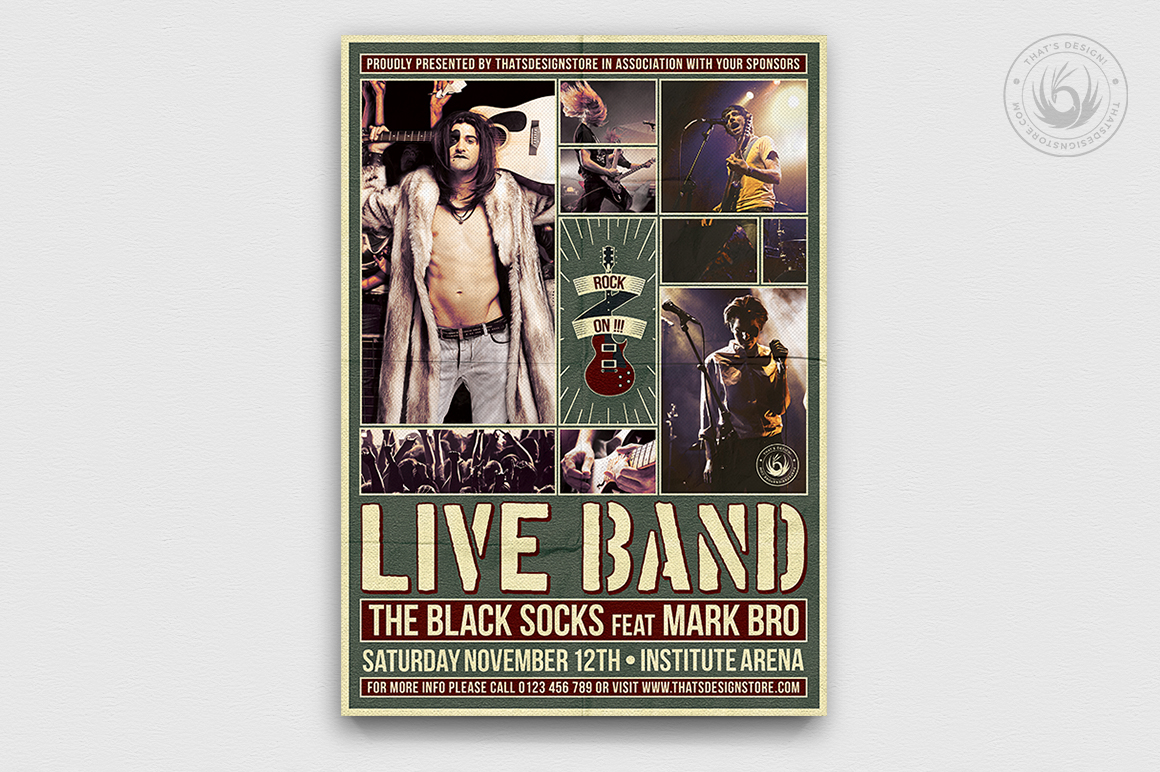 Live Concert Flyer Poster Template for Photoshop