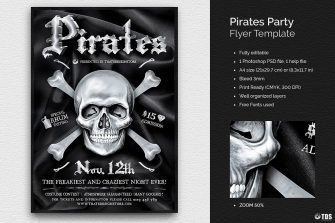 Pirates Party Flyer Template psd to download