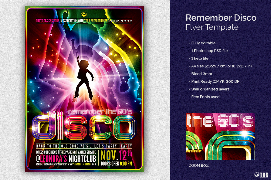 Remember Disco Flyer Template Psd download