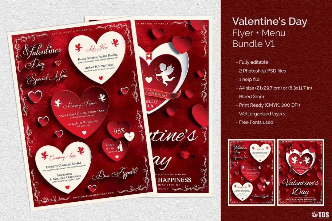 Valentines Day Flyer + Menu Bundle V1 Psd download to customize with photoshop