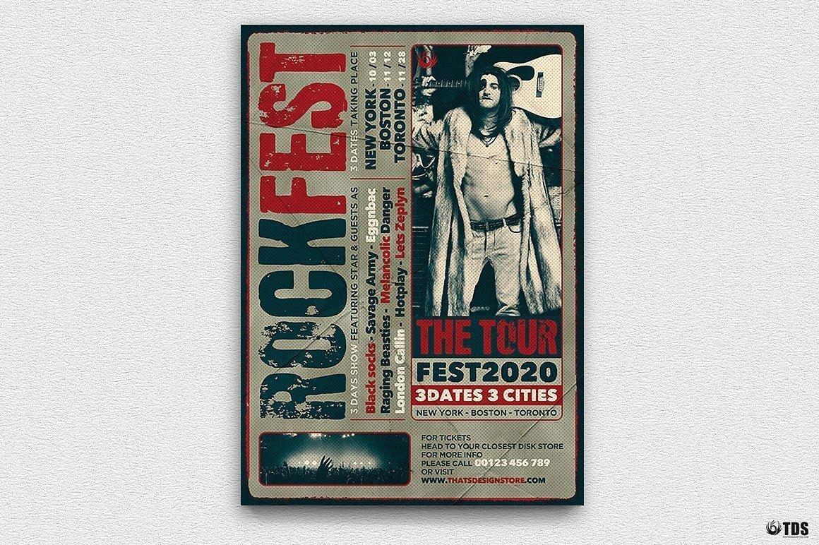Distressed Rockfest Flyer Template