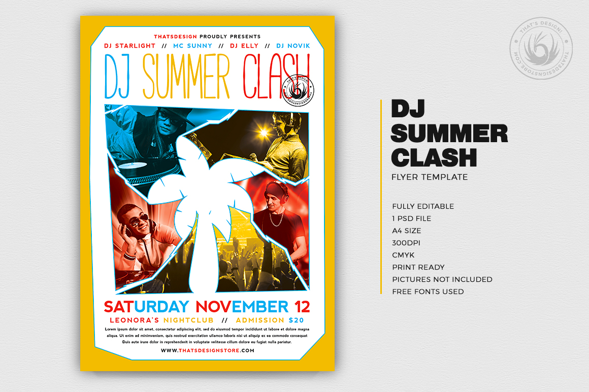 Dj Summer Flyer Template for any beach party,festival, club or cocktails bar event. Pool or garden party with Dj set mixing chillout, lounge music for a tropical sunset, summer camp holidays Fest Poster Template