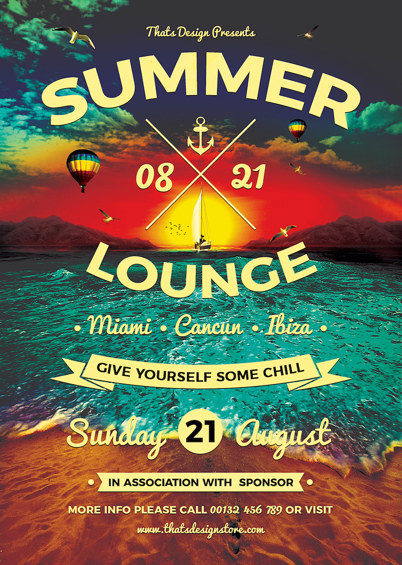 Summer Lounge Flyer Template V3 for any beach party,festival, club or cocktails bar event. Pool or garden party with Dj set mixing chillout, lounge music for a tropical sunset, summer camp holidays