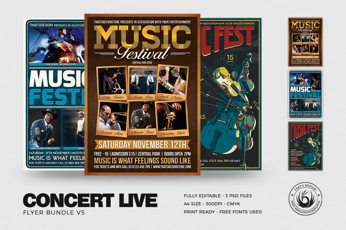 Concert Live Flyers templates Bundle V5