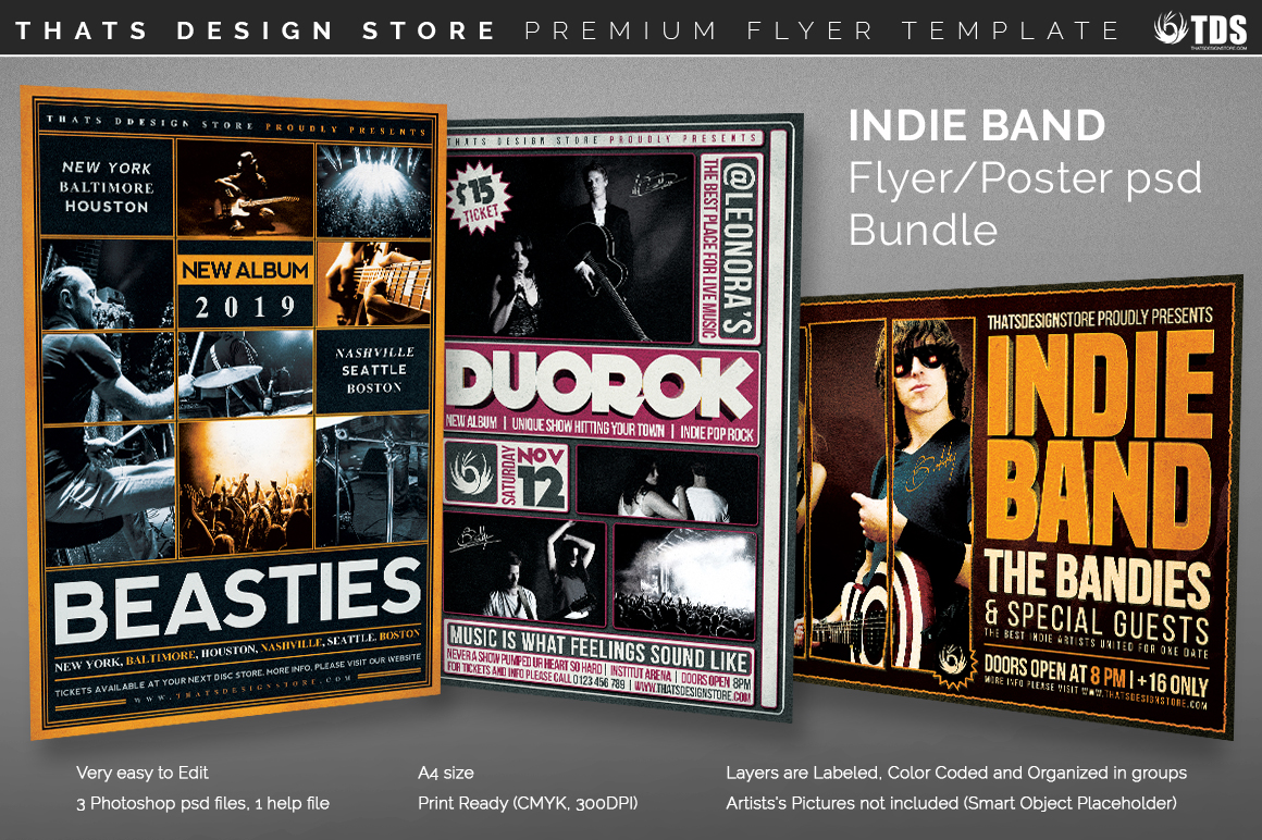 3 flyers indie band flyer templates bundle