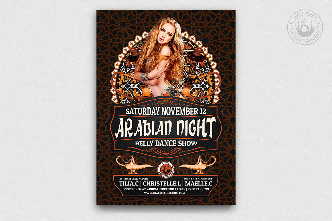 Arabian Nights Flyer Template V2, Belly dancing party design