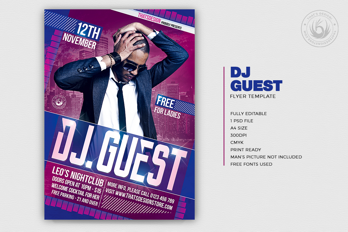 Dj Guest Flyer Template V1 customizable with photoshop