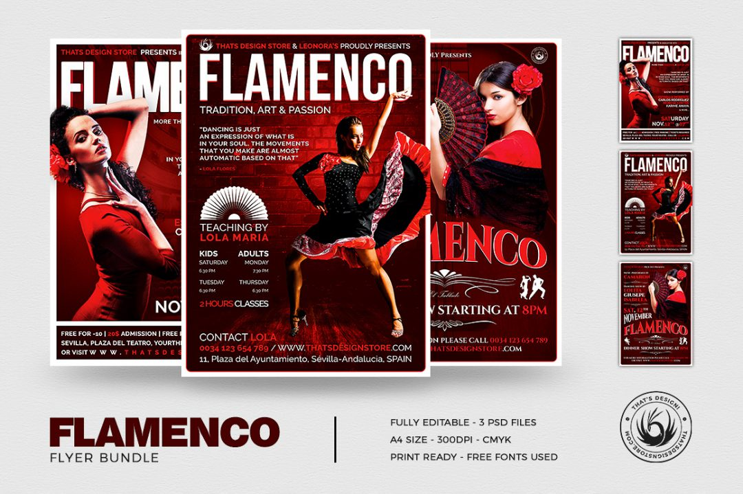 Flamenco Dance Flyer Templates Psd to promote a spanish show