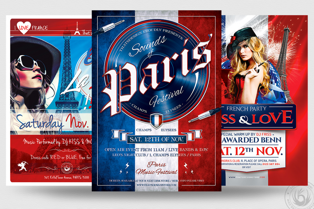 French Party Flyer Bundle, Eiffel tower, Burlesque party, Wine afterwork, Rock Band from Paris