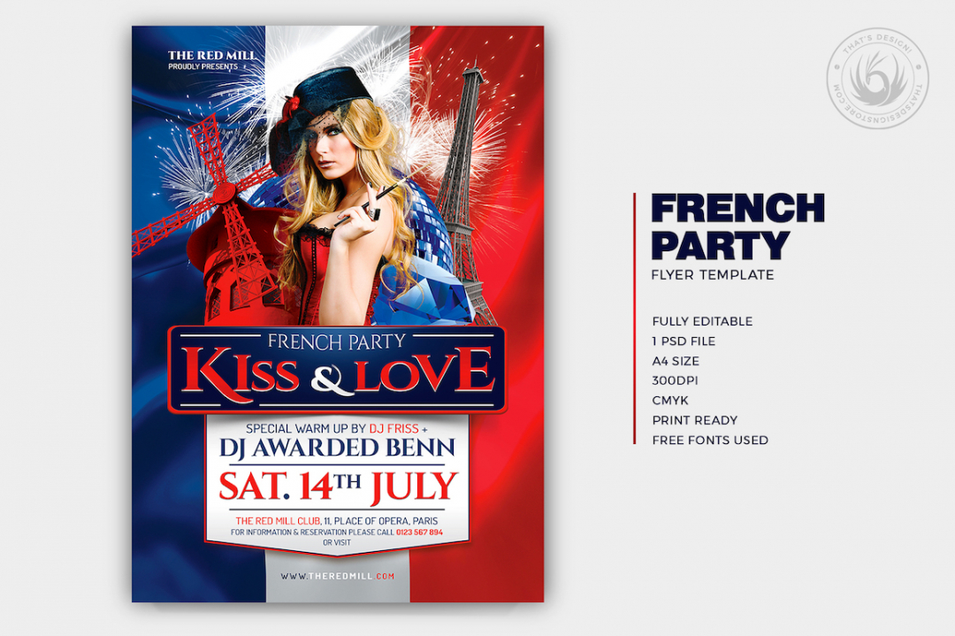 French Party Flyer Template Psd for photoshop V1, Eiffel tower, Burlesque party, Wine afterwork, Rock Band from Paris