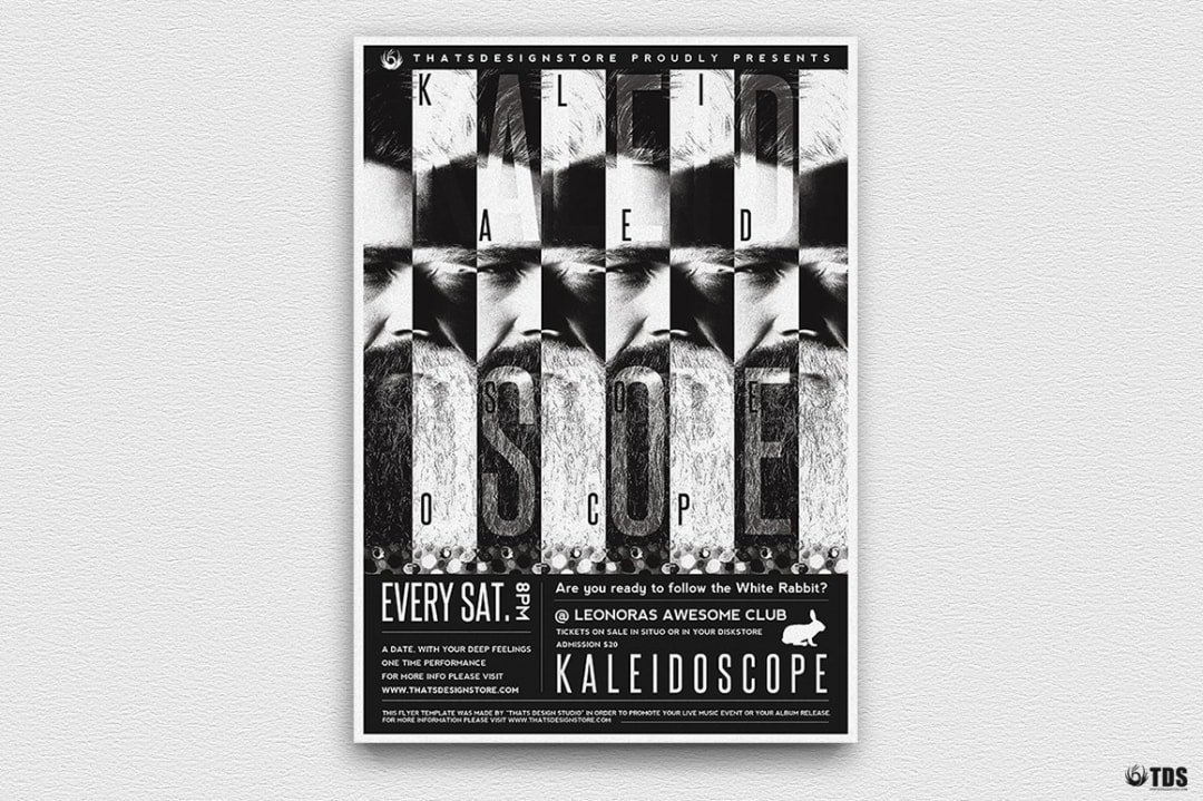 Kaleidoscope Flyer Template, Black white psd flyers