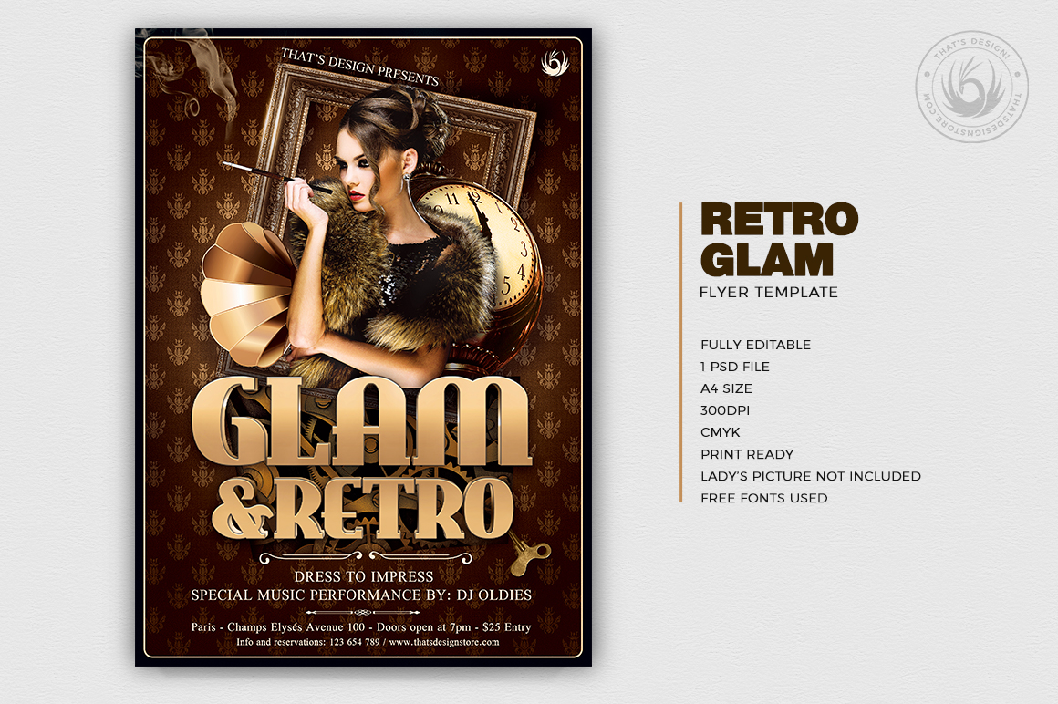 Retro Flyer Templates, Vintage, Glamorous party, Retro Ladies Night, Baroque Afterwork, a charleston themed party