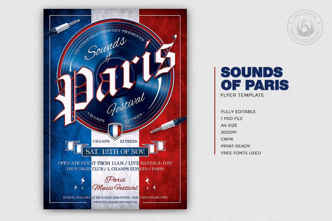 Sounds of Paris Flyer Templatedesigned for an event from France, Eiffel tower, Burlesque party, Wine afterwork, Rock Band from Paris