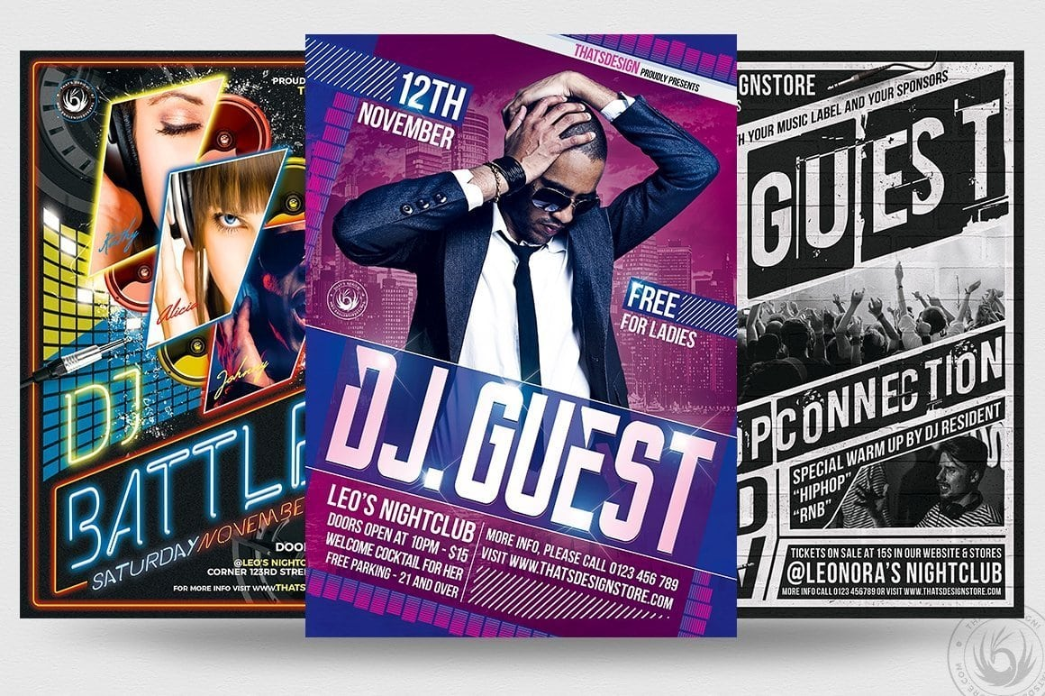 Special DJ Flyer PSD Templates to customize with photoshop