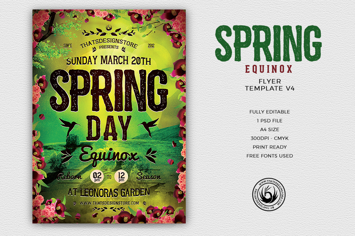 Spring Equinox Flyer Template V4 | Thats Design! Store