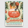 Summer Unplugged Flyer Template V2 for any beach party,festival, club or cocktails bar event. Pool or garden party with Dj set mixing chillout, lounge music for a tropical sunset, summer camp holidays