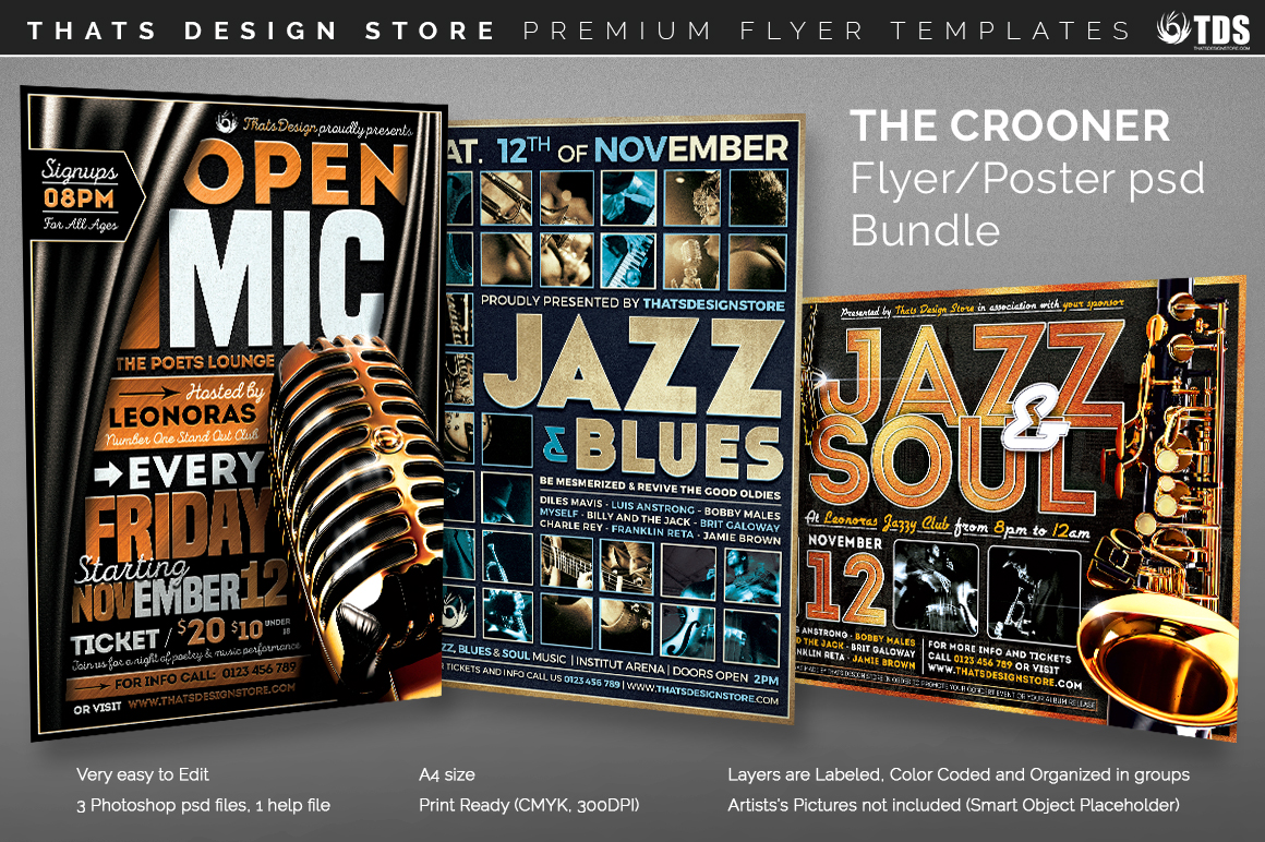 3 FLYERS PSD - The Crooner Flyer Bundle