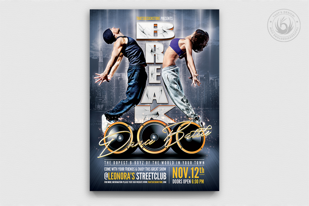 Break Dance Battle Flyer Template PSD Download
