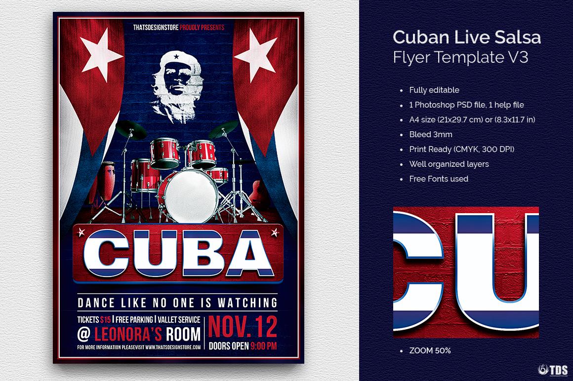 Cuban Live Salsa Flyer Template Psd Design For Photoshop V3