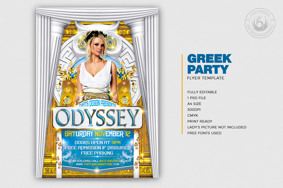 Greek Party Flyer Template
