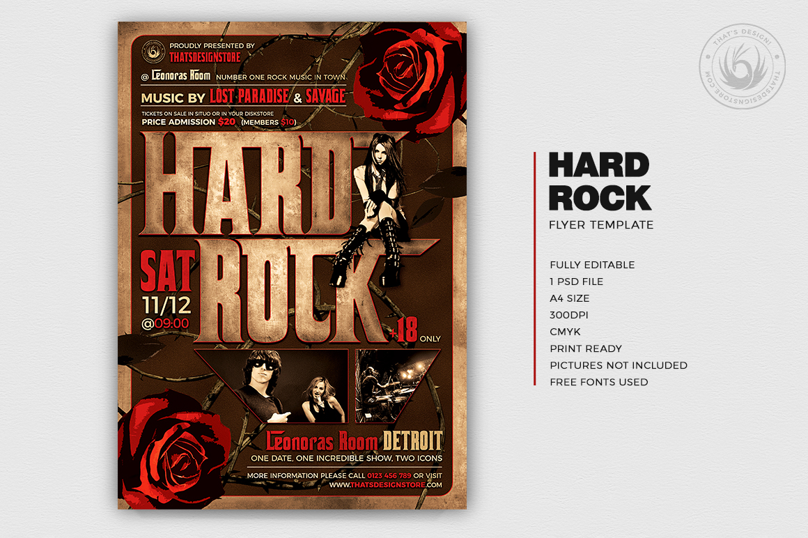 Hard Rock Flyer Template | Thats Design! Store