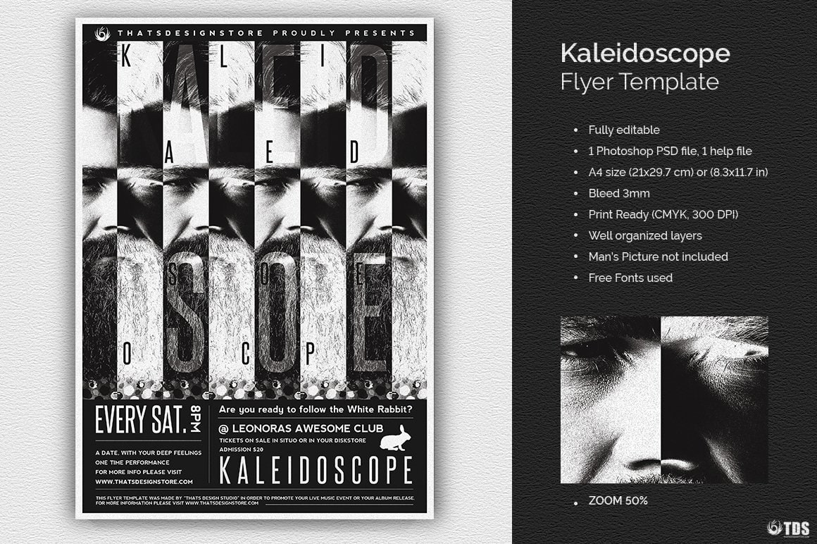 Kaleidoscope Flyer Template, Black white psd flyers