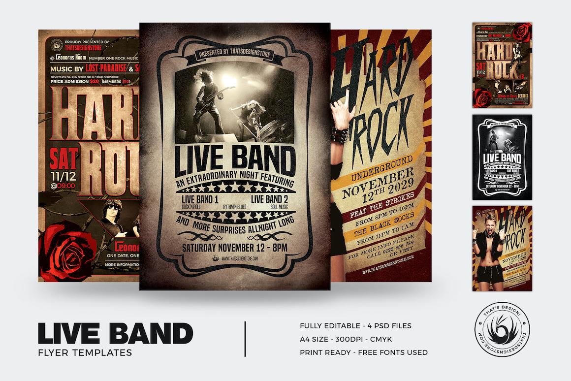 Band Flyers Psd Templates Design Bundle to download V1