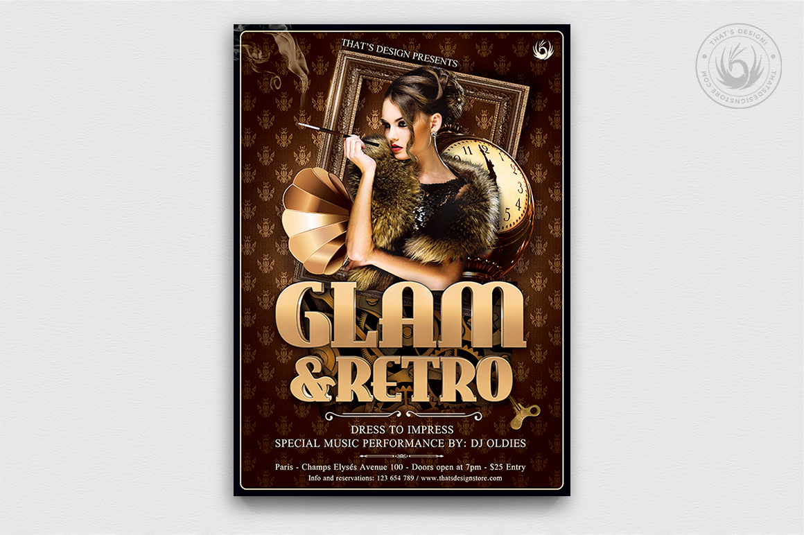 Retro Glam Flyer Templates, Vintage, Glamorous party, Retro Ladies Night, Baroque Afterwork, a charleston themed party