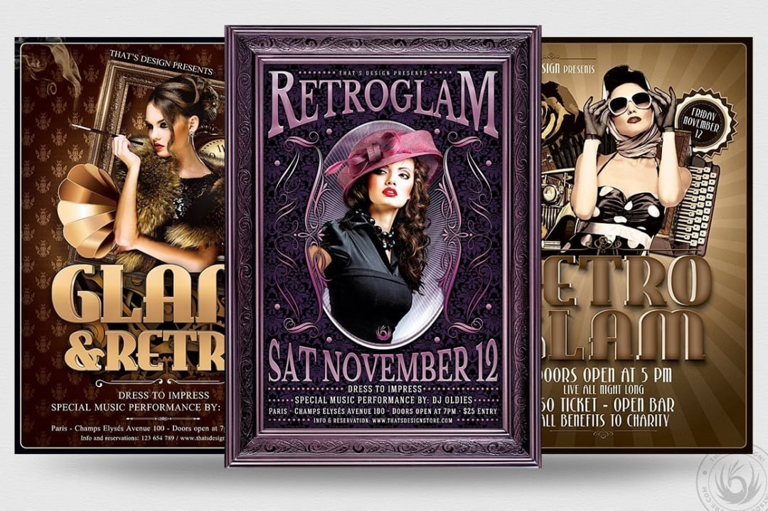 Retro Flyer Psd Templates, Vintage, Glamorous, 30's Ladies Night, Baroque Afterwork, a charleston themed party