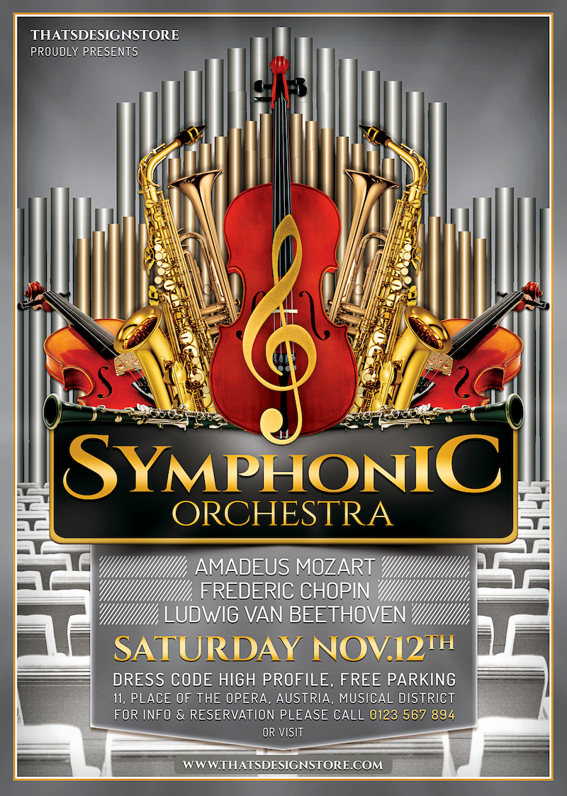 symphonic orchestra flyer psd template for photoshop