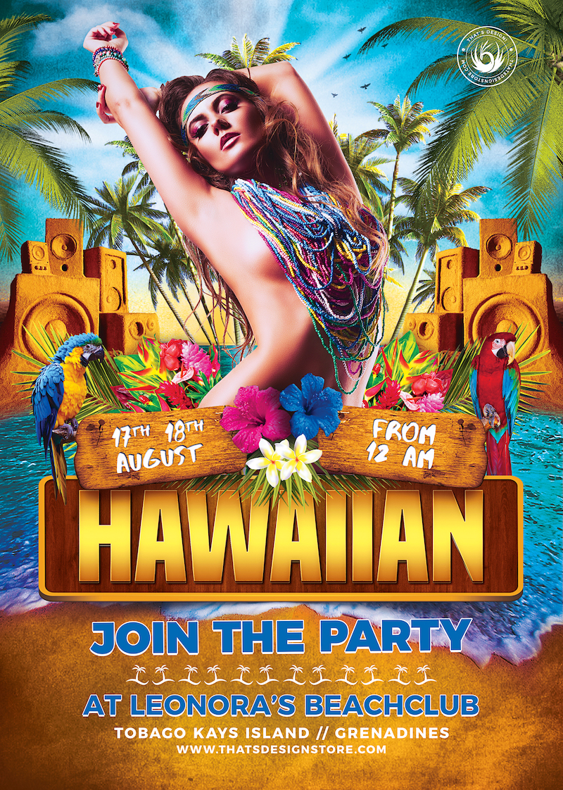 Hawaiian Party Invitation / Beach Flyer Template for photoshop for any festival, cocktails bar event. Pool or garden party with Dj set mixing chillout, lounge music for a tropical sunset, summer camp holidays