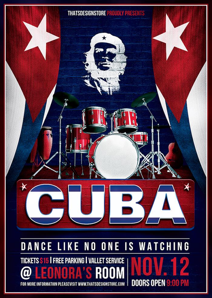 Cuban Live Salsa Flyer Template Psd Design for photoshop V.3