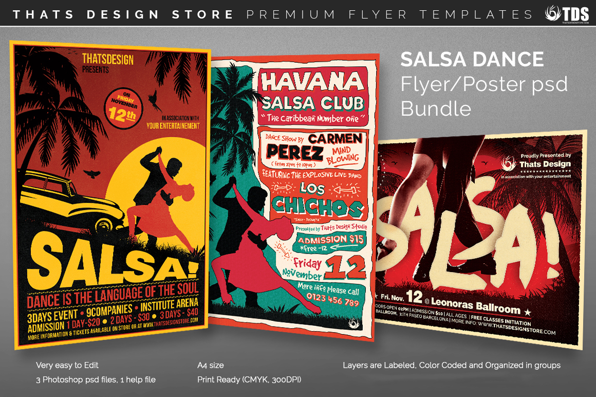 salsa dance flyer templates psd design for photoshop